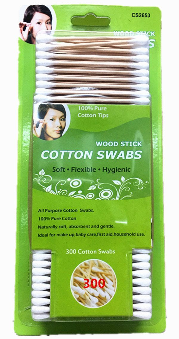 Wooden Stick Cotton Swabs (300) - Soft, Flexible, Hygienic-All Purpose