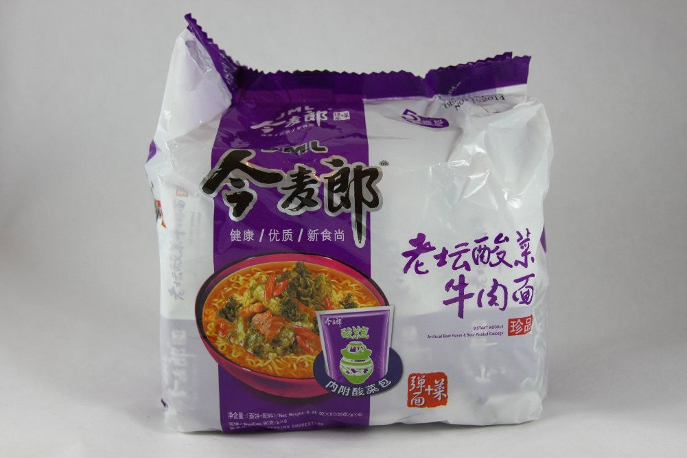 JML Instant Noodle Artificial Beef Flavor & Sour Pickled Cabbage-5 Small Bags