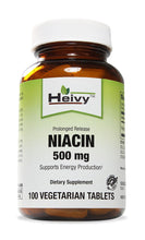 Heivy Niacin (Vitamin B3) 500 mg - Promotes Healthy Cholestrol Levels, Brain Function and Energy Production | Maintain Skin Health -- Prolonged Release -- 100 Veg Tablets