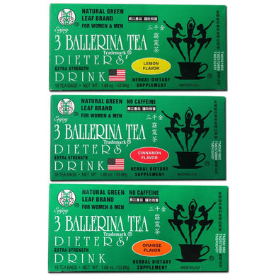 Ballerina Diet Tea Extra Strength for Men and Women, 3 Boxes, Flavored Combo (Orange, Lemon and Cinnamon Flavors)