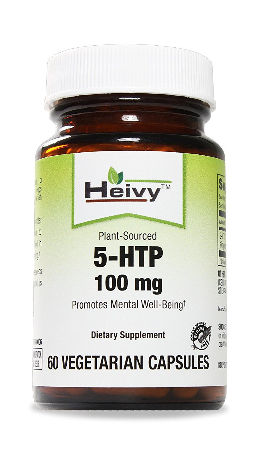 Heivy 5-HTP -- Regulate mood, behavior, sleep, appetite and pain sensation -- Inproves symptoms of depression and anxiety -- 100 mg, 60 Veg Capsules