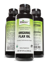 Heivy Organic Flax Oil -- Source of Vegetarian Omega-3 -- Promotes Cardiovascular and Skin Health --Flaxseed Oil Cold Pressed & Hexane Free- USDA - 8 Fl oz (236ml)
