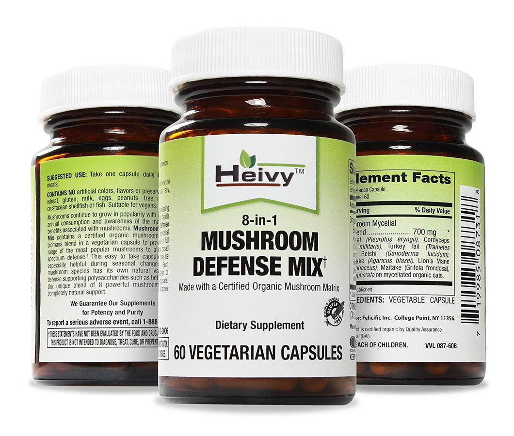 Mushroom Defense Mix, Made with a Certified Organic Mushroom Matrix, 60 Veg Caps