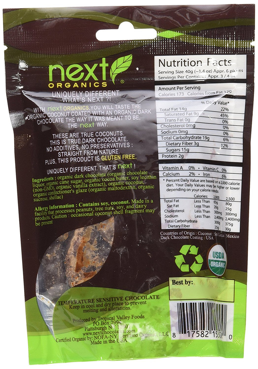 Next Organics Dark Chocolate Covered Snacks Coconut -- 4 oz