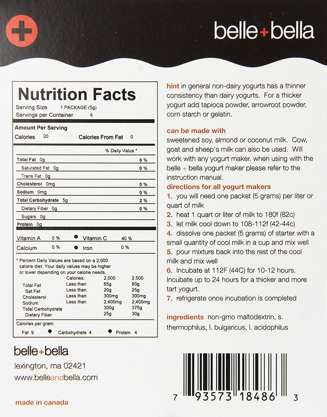 Belle+Bella, Non-Dairy Yogurt Starter, 4 Packets, (5 g) Each
