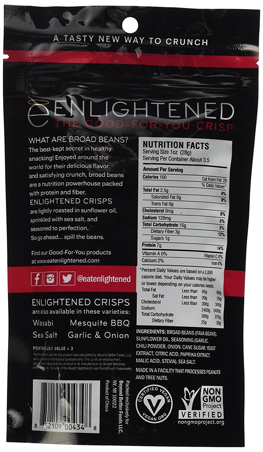 Enlightened - The Good for You Crisp Roasted Broad Beans, Sriracha, 3.5 Ounce