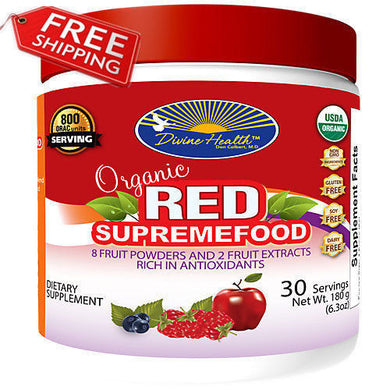 Divine Health Organic Red Supreme Food - 180 Grams Powder One Month Serving