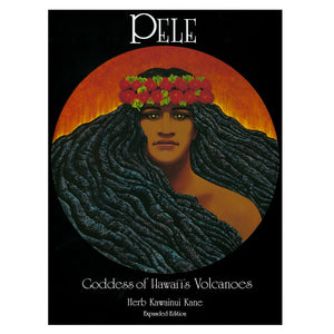 The Hawaiian deity Pele is shown on the cover of this book as both a woman and the volcano, with her long black hair represented as lava, and a head lei of ʻohia lehau blossoms.