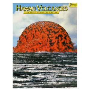 Book cover image is an erupting bubble of red lava on a shiny black pahoehoe lava plane. Image shot at Hawaiʻi Volcanoes National Park, volcano is Kīlauea.