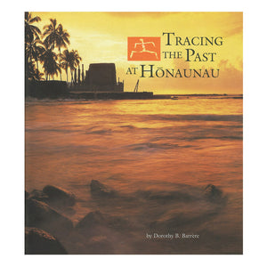 Paperback book shows a temple on a point of land with coconut trees across a bay, and the book about Puʻuhonua o Hōnaunau National Historical Park tells the story of  a centuries-old stone wall marks an ancient place of refuge, or puʻuhonua, that once offered sanctuary to any fugitive, innocent or guilty, who could reach it. Hawaiʻi.