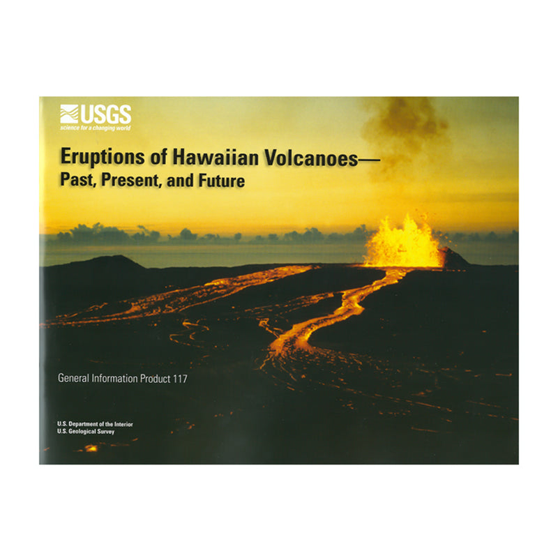 Cover shows a gold and black photo of a lava fountain and rivers of lava flowing from it. Yellow sky and black lava foreground.