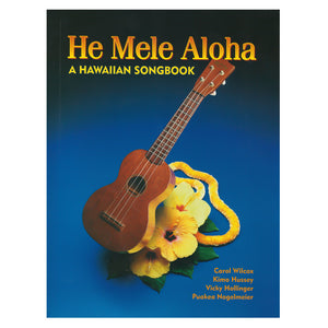 Book cover is blue, with an image of a Hawaiian ukule, yellow flowers, and a yellow lei.