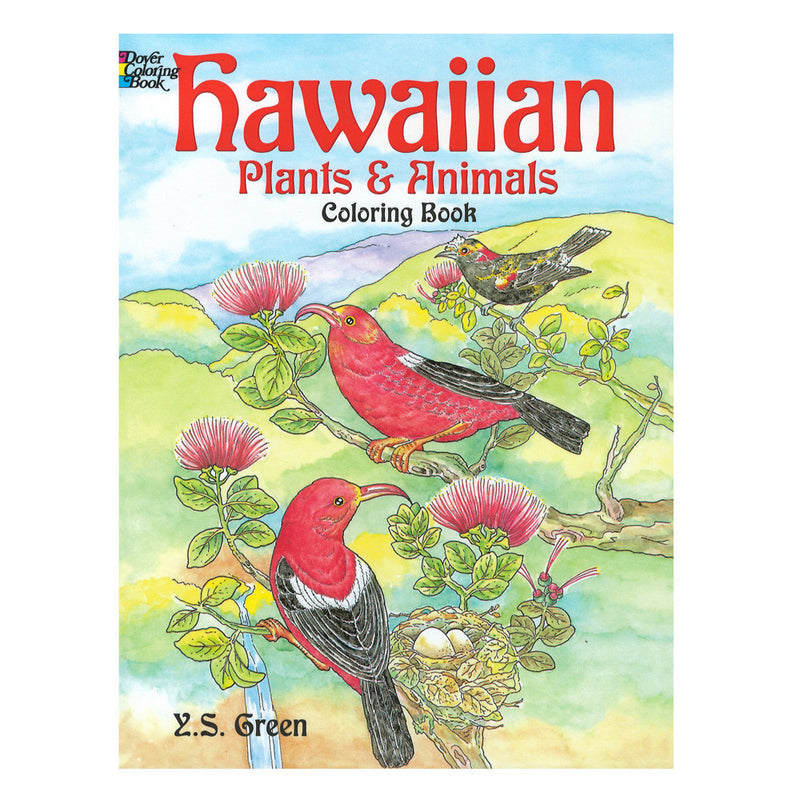 Coloring book cover shows sketches of native ʻapapane forest birds, ʻohiʻa lehua blossoms, a nest with eggs in it, and a native akoheʻkohe forest bird.