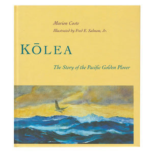 Book cover is a painting of a Pacific Golden Plover flying over the blue sea in golden light.
