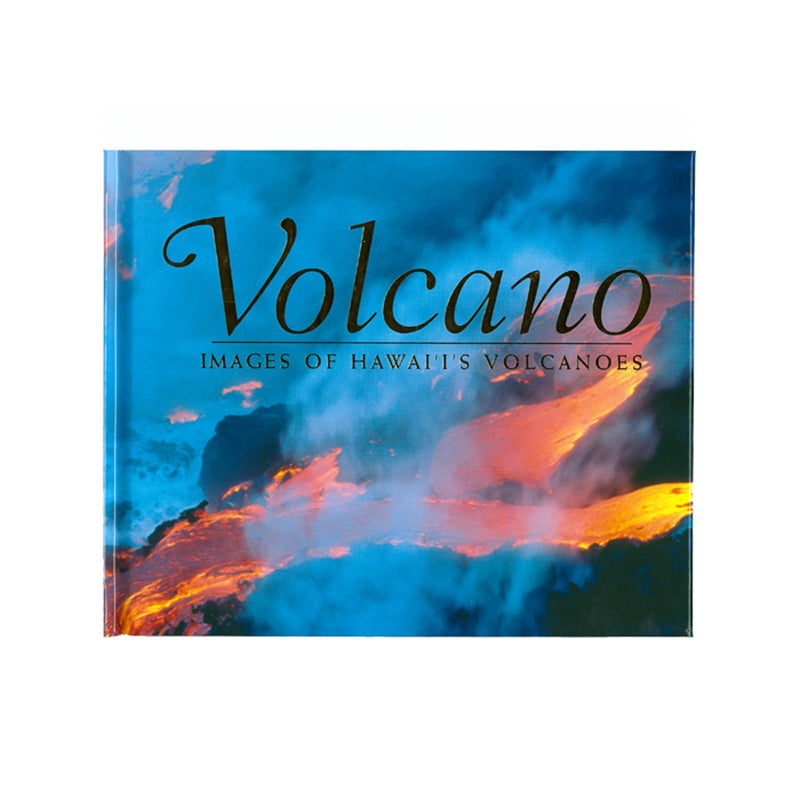 Book cover shows an orange and gold scene of lava from Kīlauea volcano running and dripping into the sea, with a blue overtone to the smoke.