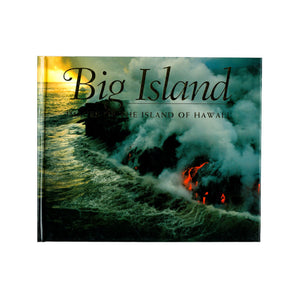 Book cover is a photo of red lava on a black lava cliff, pouring into the ocean. The sun is rising or setting beyond.
