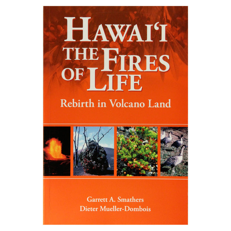 Book cover shows four panels: a lava fountain, a lava feature on a hill of cinder, an ʻohelo berry bush, and a flock of native Hawaiian geese (nēnē).