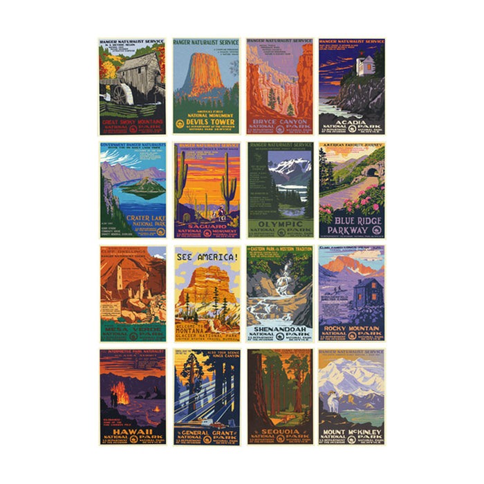 WPA Style Postcard Set - 16 National Parks
