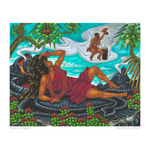 In this linoleum block print by Deitrich Varez, the volcano goddess Pele, sleeping on a bed of lava in the afternoon, dreams of her lover Lohiʻau.  He is depicted as rising with the steam and heat of the volcano.