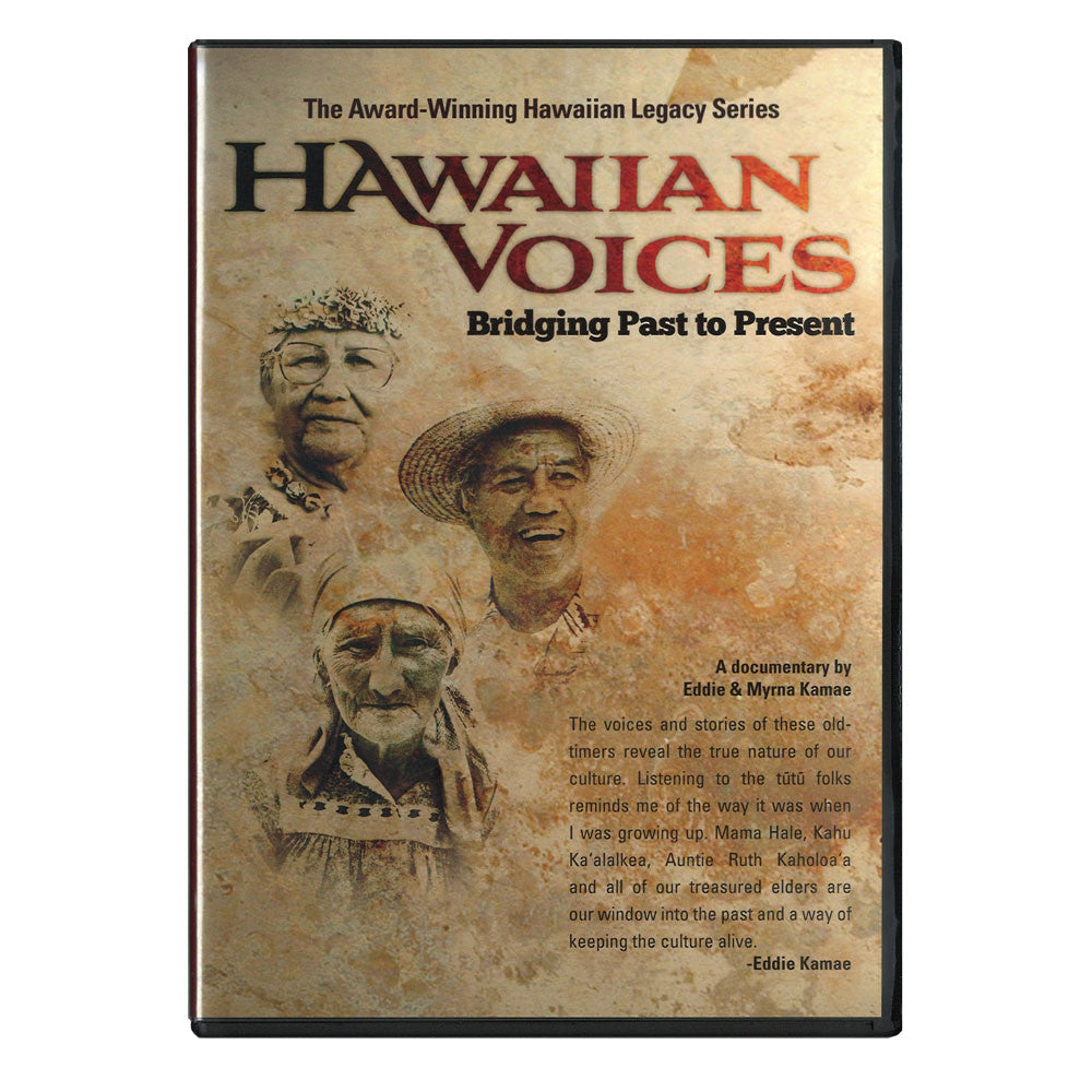 "DVD cover shows  three respected Hawaiian elders whose lives bridged the transition from older times into the late 20th century. They are Ruth Makaila Kaholoa'a, age 93, of the Big Island; Lilia Wahinemaika'i Hale, age 85 of O'ahu and Molokai; and Reverend David ""Kawika"" Ka'alakea, age 78, of Maui."