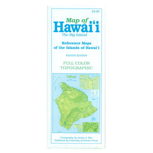 Map cover shows a green Hawaiʻi Island, or Big Island, on a blue background.