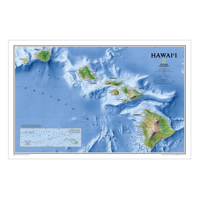 Poster: National Geographic Map of Hawai'i