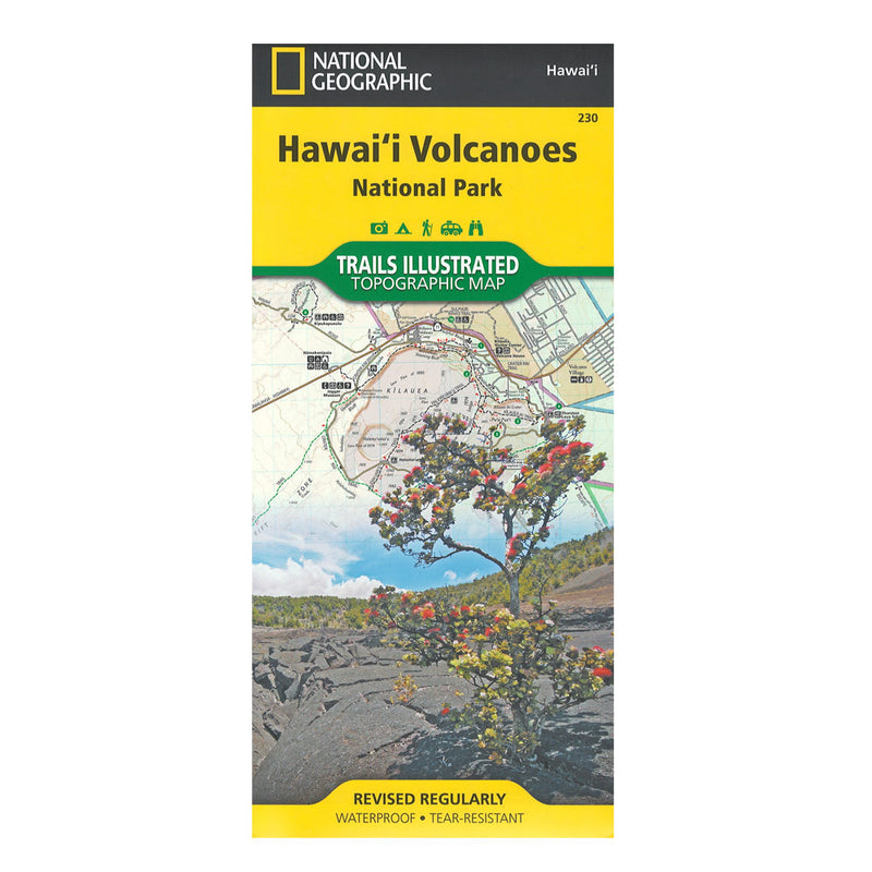 Map cover shows view into a volcanic landscape with a native ʻohiʻa tree in the foreground. Map includes the entire national park area, including Kīlauea Caldera, Makaopuhi Crater, Napau Crater, Chain of Craters East Rift Zone, Kapapala, Hawaiʻi Volcanoes National Park Wilderness, Kea'au, and an inset of Island of Hawaiʻi.