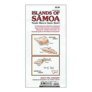 Map cover shows sketches of the islands of American Samoa and Western Samoa