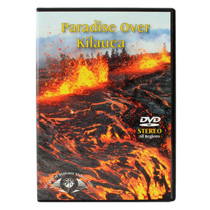 "This DVD is a culmination of Kilauea highlights. The cover shows a curtain of lava fire fountains eruptions. ""Paradise Over Kilauea"" takes you on a bird's-eye view of fantastic littoral explosions, gigantic lava flows, a sixty-foot high undulating lava dome, amazing red-hot lava tubes and dramatic curtains of fire.  The 20-minute limited edition is exclusive footage of the 2011 fissure eruption that sent fountains of lava 100-feet into the air in a spectacular display."