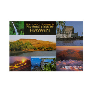 Postcard book cover is a collage of images from national parks in Hawaiʻi, and includes temples, lava flows, beaches, waterfalls, clouds, a fishpond wall.