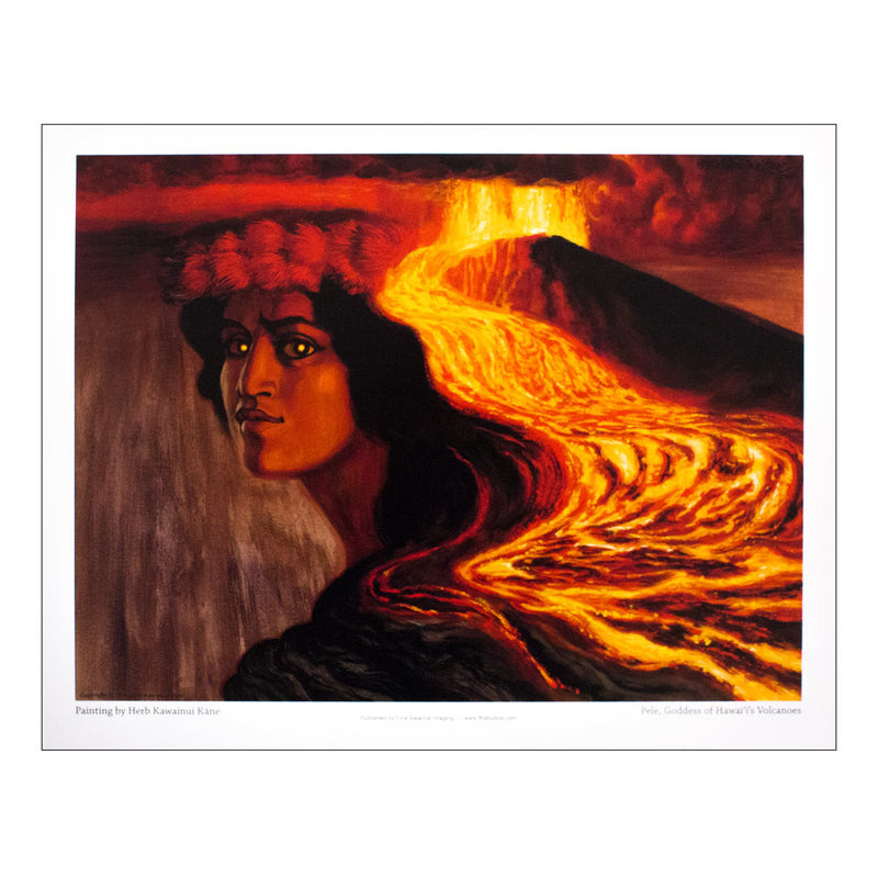 Volcano deity Pele gazes out from the scene in this painting, her hair depicted as both lava rivers and long black hair, and a crown of lehua blossoms on her head. Her eyes glow gold.