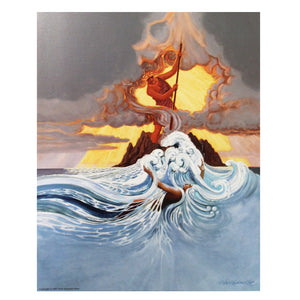 This painting shows the volcano diety Pele standing on land and fighting with her ocean sister goddess, Namaka. The ocean is roiling and steam is rising in the air.