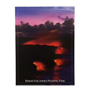 Poster shows red glowing lava flowing into the sea from Kīlauea volcano on Hawaiʻi Island.