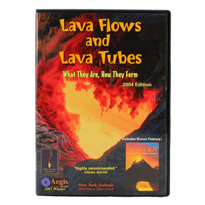 DVD cover shows a long orange lava river/flow in a skylight, and the video discusses the formation of lava flows and lava tubes on the island of Hawaiʻi.