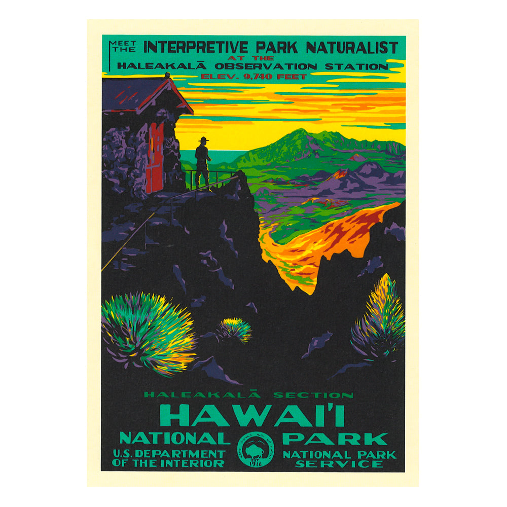 Poster Wpa Style Haleakala National Park Hawaii Pacific Parks Association
