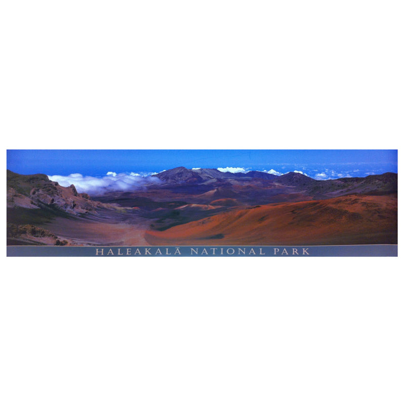 Panoramic poster shows the volcanic summit valley of Haleakalā, with multicolored cinder cones, wispy clouds, and a bright blue sky.