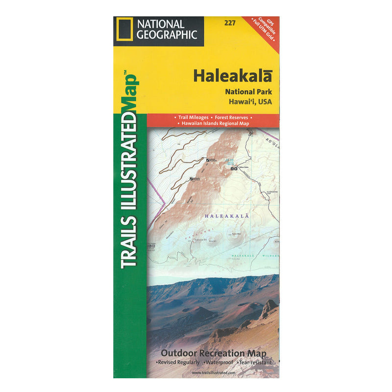 Cover fold of the topographic map for Haleakalā National Park on the island of Maui shows an image of the summit region and a small part of the trails map. Top bar is yellow with park name.