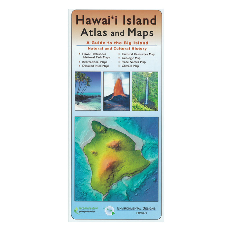 Map cover shows four images: Hawaiʻi Island, a fire fountain erupting from a cinder cone, a waterfall, and coconut palms leaning over a white sand beach.