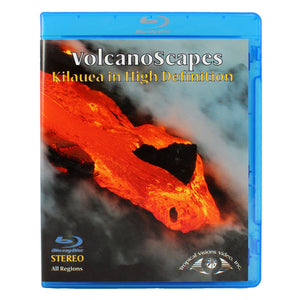 DVD cover shows a long orange lava river/flow between black lava banks, and the video discusses eruptions on the island of Hawaiʻi.