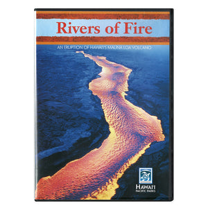 DVD cover shows a long orange lava river/flow between black lava banks, and the video discusses the March 1984 eruption of Mauna Loa volcano on the island of Hawaiʻi.