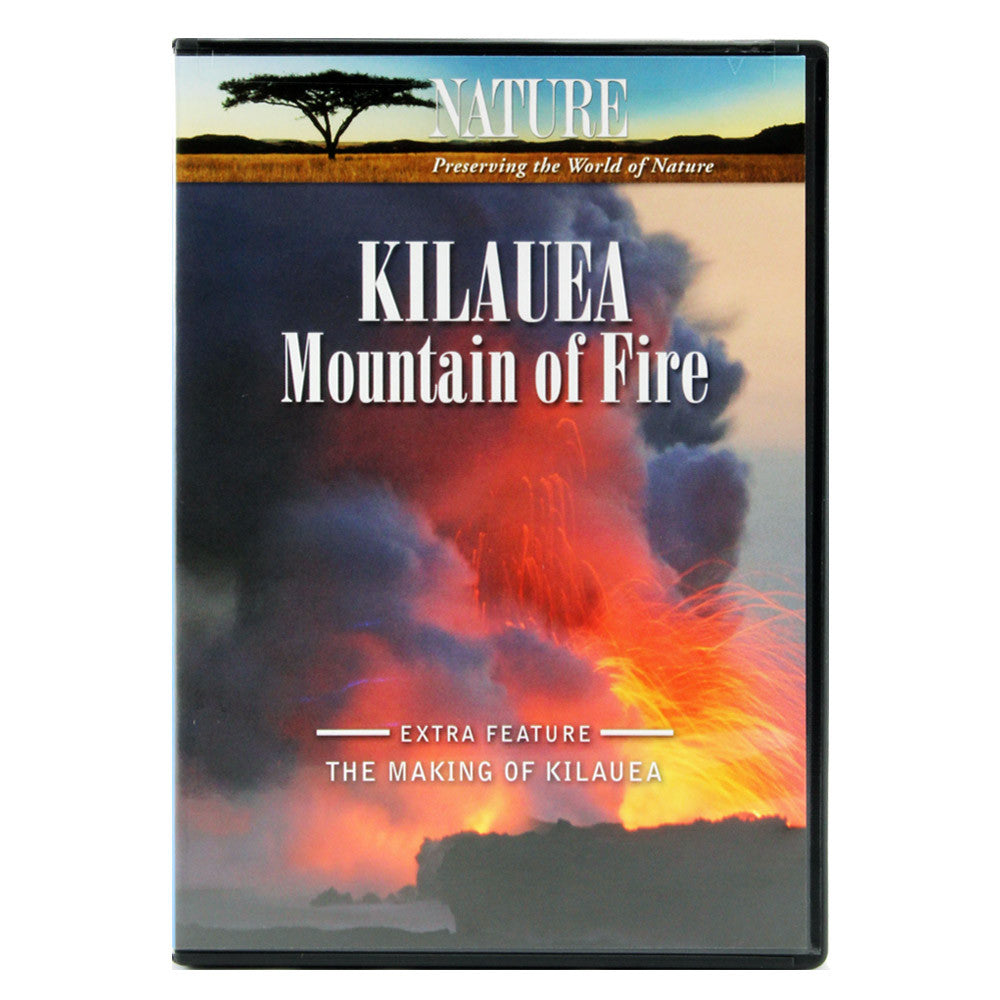 DVD cover shows a long orange lava river/flow flowing into the sea, with purple and orange plumes rising from it, and the video discusses the eruptions of the volcano Kīlauea on the island of Hawaiʻi.
