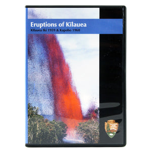 DVD cover shows a tall read and orange lava fountain erupting from the papaya fields of the town of Kapoho, and the video discusses the 1959 and 1960 eruptions of Kīlauea volcano on the island of Hawaiʻi.