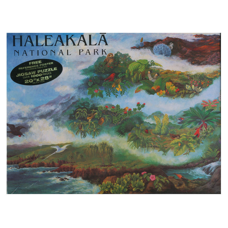 The puzzle box top illustration encompasses all of the diverse and complex ecosystems of the great volcano Haleakalā on Maui, from sea to summit. Native and endemic birds, plants, insects and stream animals are depicted tucked into their correct habitats, starting with the shoreline and ending at the high, dry and cold summit.
