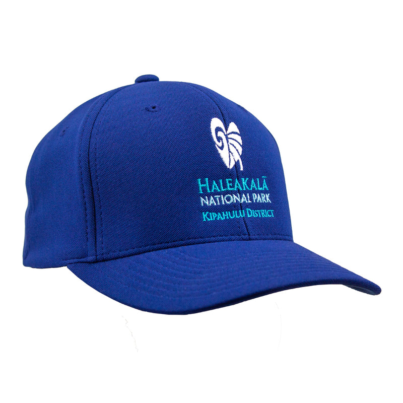 100% cotton twill ball cap, black, with a taro plant leaf embroidered in white on front and Haleakalā National Park embroidered below that in green and blue.