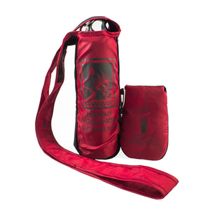 Bottle sling is shown with bottle inserted Hawaiʻi Volcanoes National Park logo on the front of the red bottle sling, in dark grey.