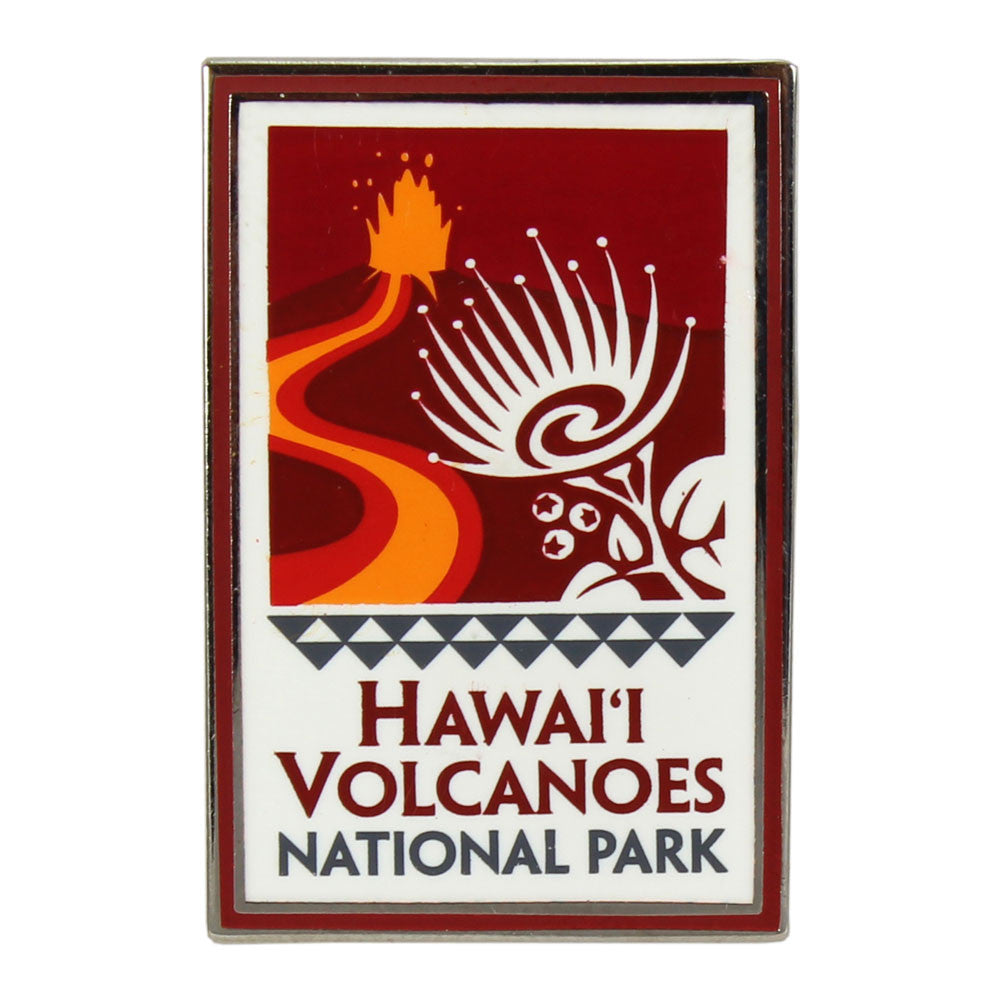 "Rectangular red, white and orange Hawaiʻi Volcanoes National Park logo pin is enameled and measures 1.75"" by .75"" Logo shows an orange and yellow lava river flowing from a cinder cone with a lava fountain, and the ʻohiʻa lehua blossom in the foreground."