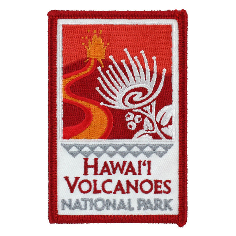 Red, orange and white patch, rectangular, depicting a Kīlauea fire fountain, lava flow, ʻohiʻa lehua blossom, and the title of Hawaiʻi Volcanoes National Park in Hawai'i.