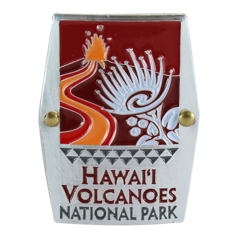 Rectangular red, orange and white hiking medallion shows the erupting cinder cone of Kīlauea volcano and the ʻohiʻa lehua blossoms found at Hawaiʻi Volcanoes National Park on Hawaiʻi Island.