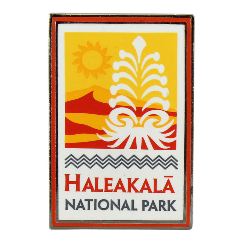 "Rectangular yellow, white and orange Haleakalā National Park log pin is enameled and measure 1.75"" by .75"" Logo shows silversword plant, the rising sun, a volcanic landscape."