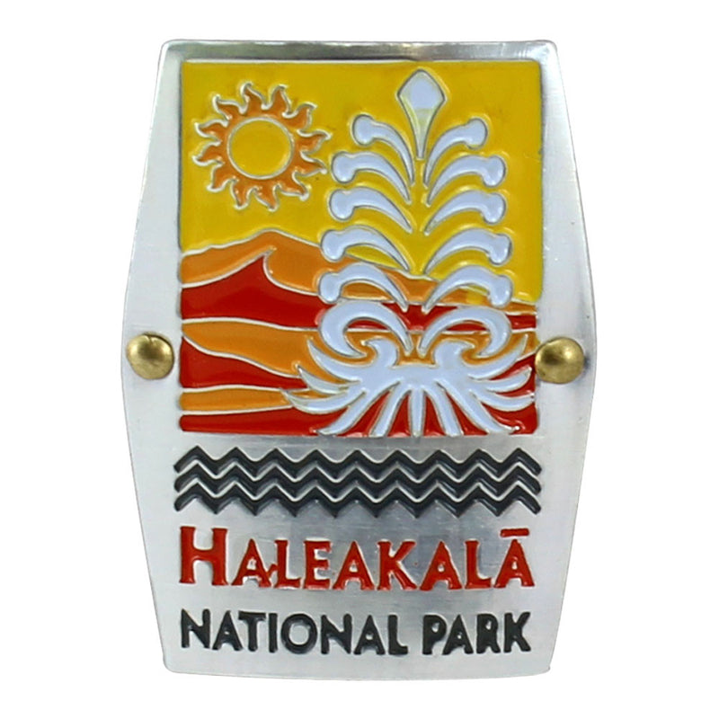 Rectangular gold, red, orange and white hiking medallion shows the silversword plant and the rising sun over the cinder cones of the summit of Haleakalā National Park on Maui.